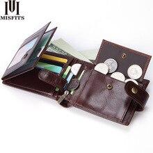 MISFITS cowhide ผู้ชายกระเป๋าสตางค์แฟชั่นกระเป๋าสตางค์กระเป๋าเหรียญ 100% ของแท้หนังผู้ถือบัตรเครดิตเงินกระเป๋าสำหรับชาย