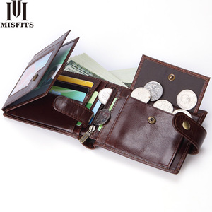 Image 1 - MISFITS cowhide men short wallet brand fashion purse with coin pocket 100% genuine leather credit card holder money bag for male