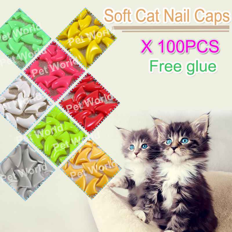 Colorful 100pcs/lot  Soft Cat Pet Nail Caps Claw Control Paws + Free 5x Adhesive Glue Gift For Pet