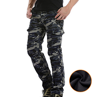 Winter Men's Camouflage Cargo Pants overalls Loose Fleece Mens Military Pants Straight Trousers Male Multi Pockets Large Size