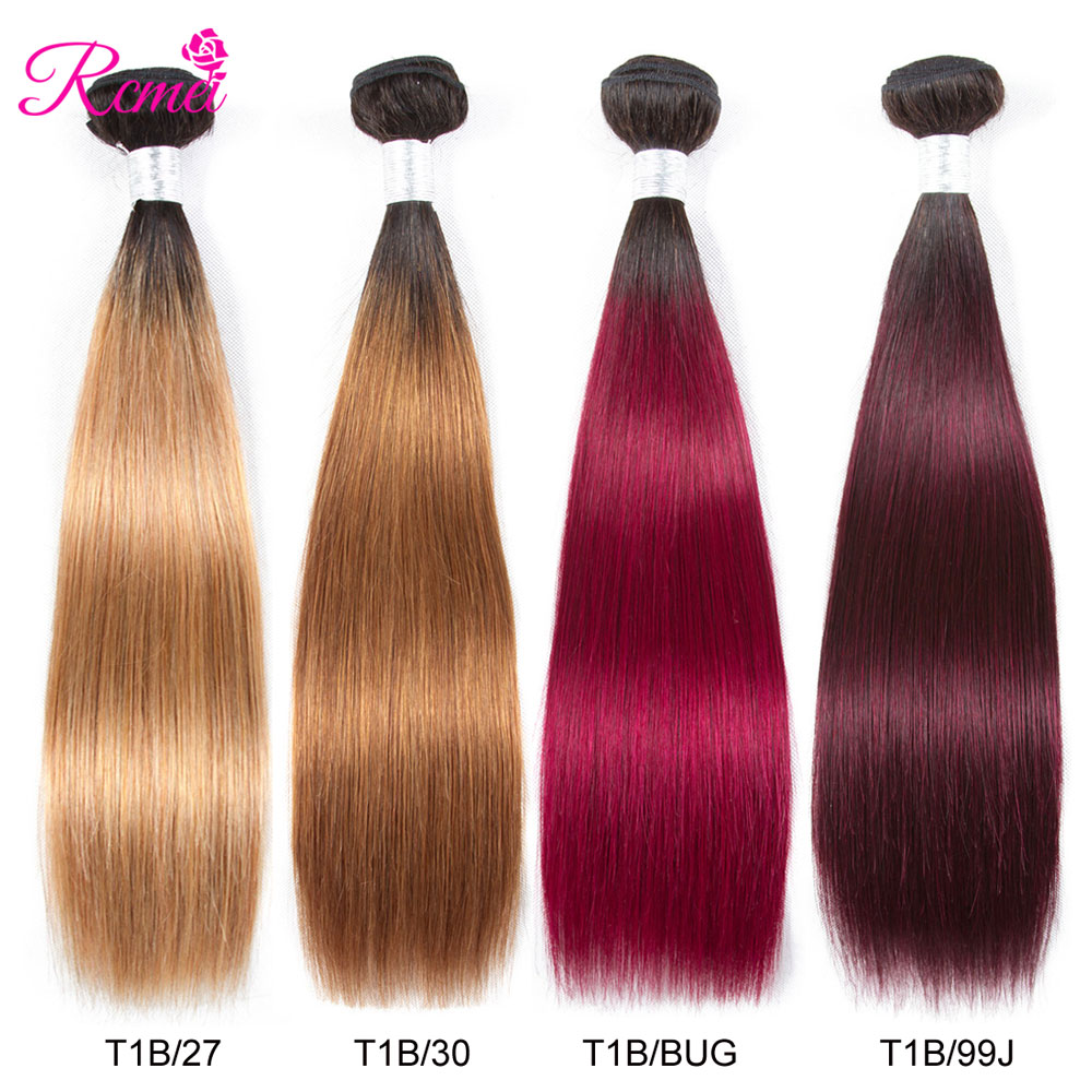 Hair Weaves Hair Extensions & Wigs Ombre Honey Blonde Brown Wine Red Colored Bundles Two Tone Dark Roots Brazilian Body Wave Hair Weave 3 Bundle Deal Nonremy Rcmei