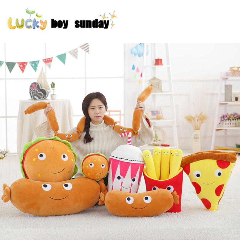 Hamburger Pizza Cola Toy Pillow Fries Plush Toys Staffed Soft Funny Food Plush Creative  ...
