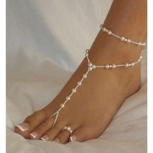 Simple double-layer beach pearl charm sandals tribal anklet foot leg chain bikini beach barefoot ladies anklet pearl anklet цена 2017
