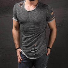 Nieuwe Stijlvolle Hole Ripped mannen Slim Fit Spier O-hals Tee Tops Shirt Casual Korte Mouw T-Shirts Mode Heren Tops(China)