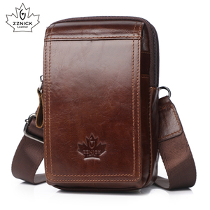 Image 1 - Men Bags Genuine Leather Waist Pack Shoulder Crossbody Bags CrossbMessenger Bag Men Shoulder Bags Phone Pouch Male zznick