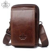 Zznic bolsa masculina de couro genuíno, bolsa de ombro crossbody para homens, bolsa de ombro com alça carteiro para celular
