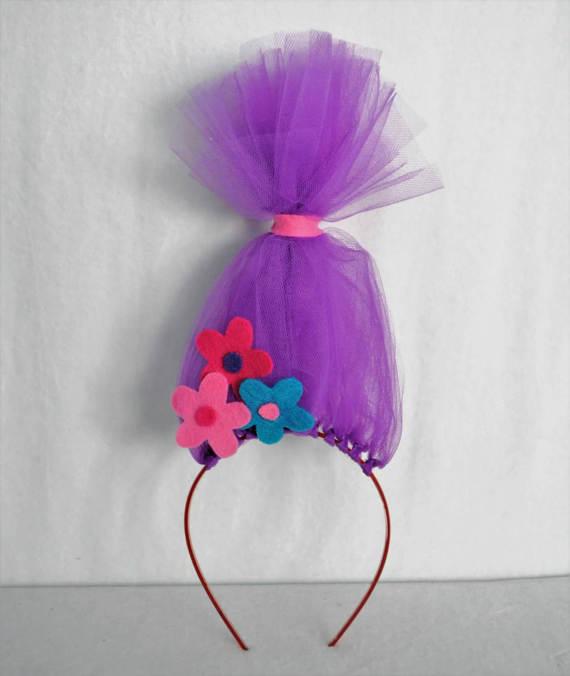 Trolls Headband Rainbow Headband Tulle Trolls Hair Headband Flower Headband Troll wig Rainbow wig