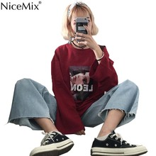 NiceMix Spring Harajuku TShirt Women Tops Print Character Long Sleeve T-shirts Korean Streetwear Tumblr Tee Shirt Vetement Femme