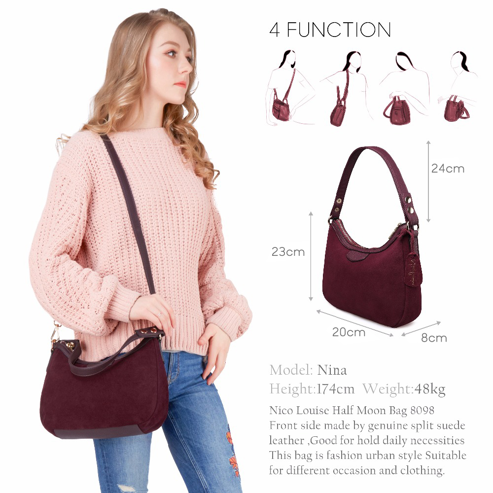 Image 2 - 2018 New Women Real Suede Leather Small Shoulder Bag Brand Female Leisure Cossbody Hobo Handbag For Lady Blosa Top handle Bags-in Top-Handle Bags from Luggage & Bags