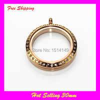 Large oro rosa tornillo flotante Locket cara con Pave rhinestone cristal lockets 30mm