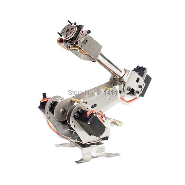 US $61 74 5% OFF|1set DIY 6DOF Metal Robot Arm 6 Axis Rotating Mechanical  Robotic Arm Clamp Kit Stainless Steel Manipulator For RC Toys Models-in