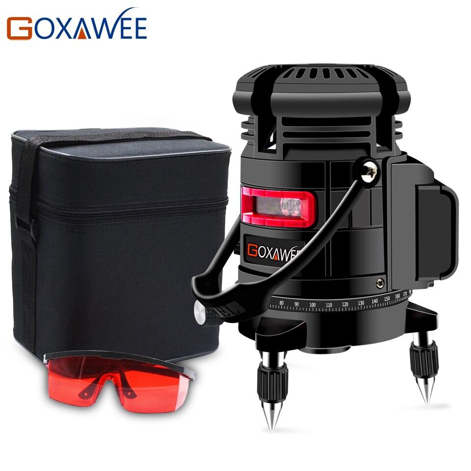GOXAWEE 360 градусов Поворотный 5 линий 6 точек лазерный уровень вертикальный и горизонтальный 3D автоматический самонивелирующийся с наружным р...