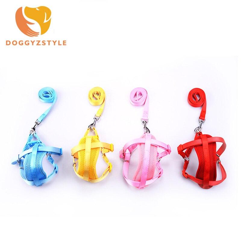 Pet Dog Collar Puppy Cat  Adjustable Nylon Solid Lead Leash Harness Walking Chest Strap Pet Harness Collar Lead Leash 5 Color