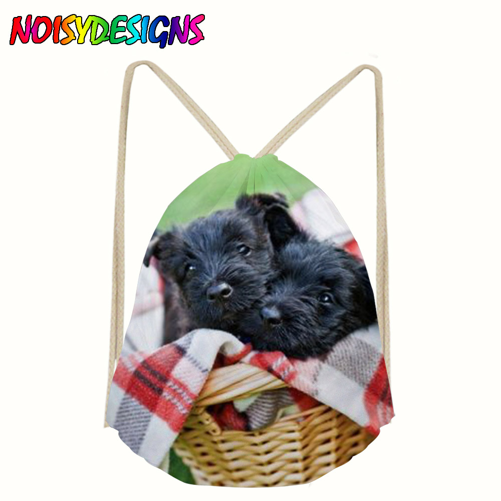 3D Printing Women Drawstring Backpack Classic Scotty Dogs Pattern Mochila Escolar Man Bags Travel Mochilas School Drawstring Bag