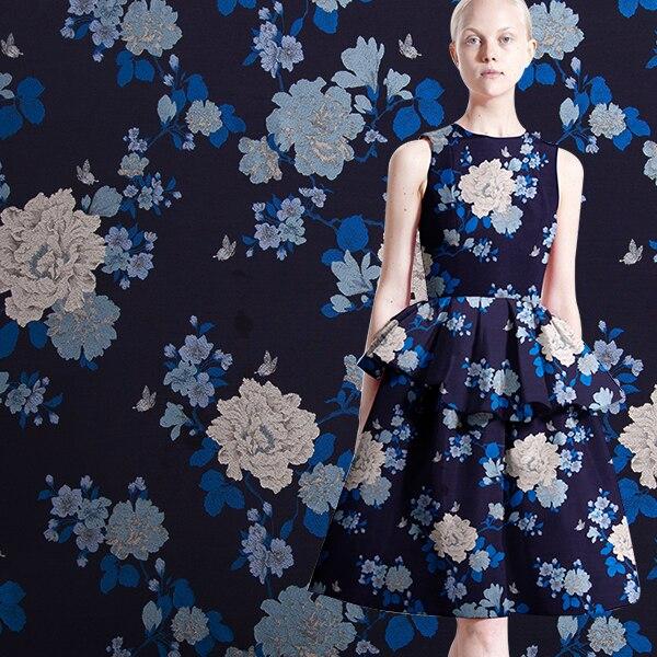 Жаккардовые ткани Европа и США Осень и Зима Винтаж синий полный цветок мягкое платье ткань платье cheongsam ткань
