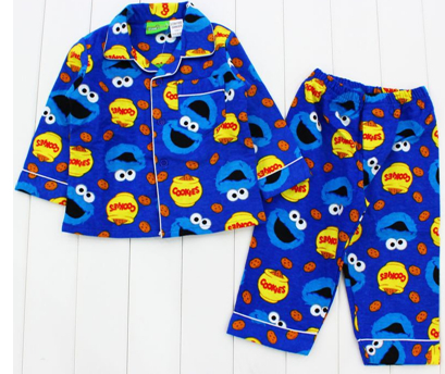 1fe2245be33e Free shipping ELMO SESAME STREET cookie monster boys blue flannel  flannelette winter pyjamas pajamas sleepwear Pjs