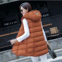 Brieuces solid hooded can be detachable ln the long Mesh cloth autumn winter vest women plus size loose  waist coat