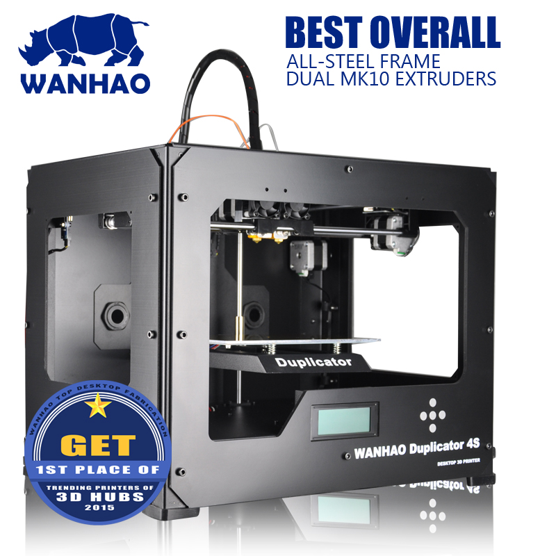 wanhao D4S 3D Printer machine Dual Extruder Prusa Two-Color Printing High Resolution Impressora ABS PLA material 3d printer 2017 newest high quality qidi tech i dual extruder 3d printer with upgraded 7 8 version motherboard w 2 free abs pla filaments