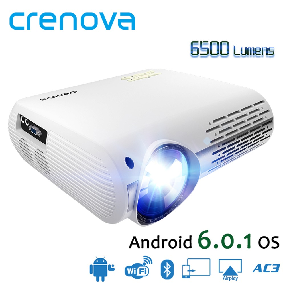 CRENOVA High Quality 6500 Lumens Video Projector For Full HD 1080p Android 6 1 OS Android