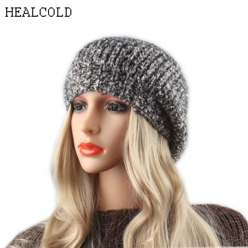 women winter hats wool knitted   beanie   hat fashion spring slouchy   skullies     beanies   casual female caps