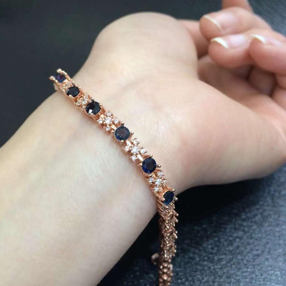 2017 New Qi Xuan_Free Shipping Dark Blue Stones Elegant Bracelets_Rose Gold Color Fashion Bracelets_Manufacturer Directly Sales
