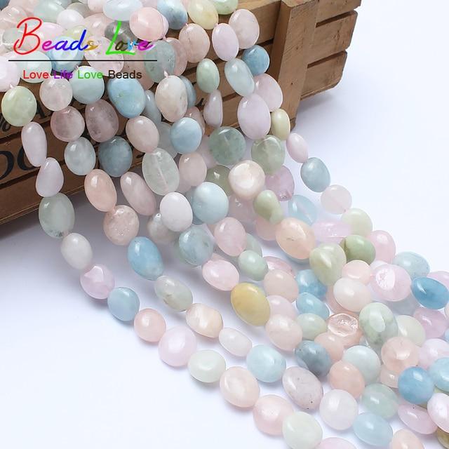 8-10mm pierre de forme naturelle véritable perles de Morganite pour la fabrication de bijoux perles de pierre naturelle irrégulière pour Bracelet à bricoler soi-même 15 pouces