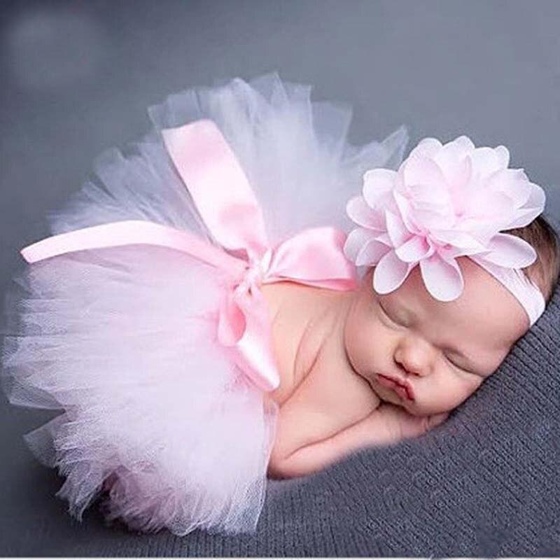 Бледно-розовая детская юбка-пачка и повязка на голову комплект для новорожденных наряд для малышей реквизит для фотосъемки одежда для мале...