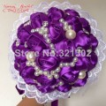 European And American Brides Holding Flowers Wedding Flowers Ornament Pearl Ribbon Wedding Bouquet De Novia Bridal Bouquets YJ02