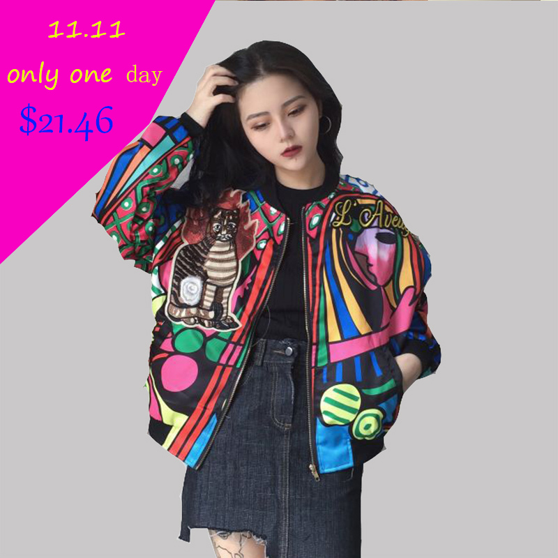 2018 Autumn Hotting Women Over size   Basic     Jackets   Printing Ladies Long Sleeve Cat Patch Design Bomber   jackets   Outerwear Coats