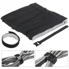 30pcs Magic Sticker Loop Cable Hook  Reusable Nylon Ties with Eyelet Hole Organizer Sticky Straps Fastener 150*20 mm