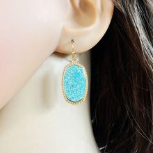 10 colors Resin drusy dangle earrings  imitation crystal stone druzy earings gold colour brand jewelry For women KS 72