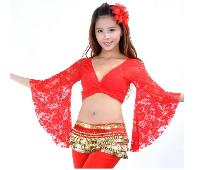 50 pcs dhl cepat 13 Warna Belly Dance Dance Tops Wanita Sexy Lace Top Front Cross Tanaman Halter Deep V Leher Flare Sleeve Top