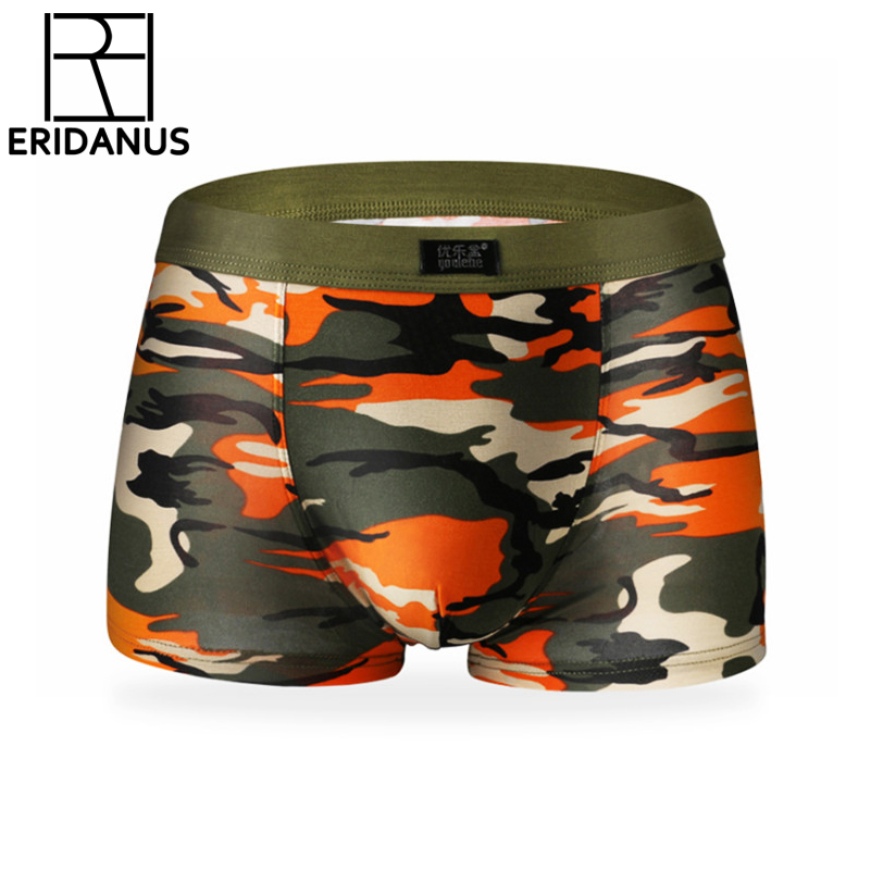 Male Underwear Boxer-Shorts Printed Convex-Crotch Modal Sexy Breathable Camouflage Fashion