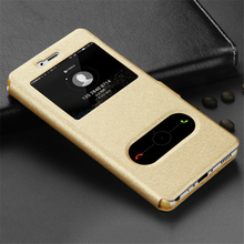 Luxury Window View Leather Cover for Huawei Y6 II Case Flip Coque Fundas Capa Wallet Plastic