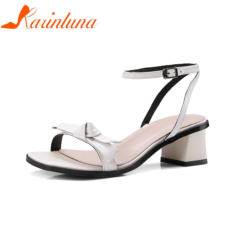 KARINLUNA Cow Genuine Leather Square Heel New Brand Woman Shoes Butterfly Knot Solid Women Shoes Summer Sandals