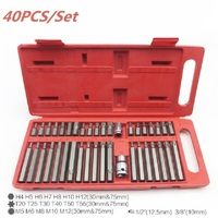 40pc Torx Star Spline Hex Allen Key Socket Bit 3/8 & 1/2 Drive Set