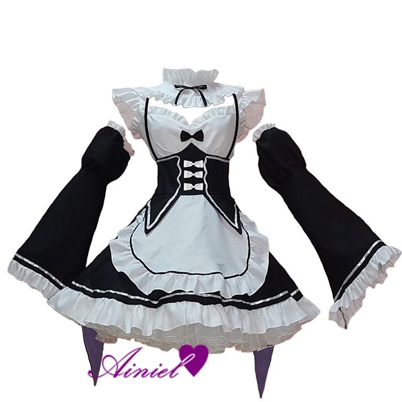 Re:zero Kara Hajimeru Isekai Seikatsu Re Life In a Different World Ram Rem Cosplay Costume Kawaii  Maid Servant Dress  CS266100