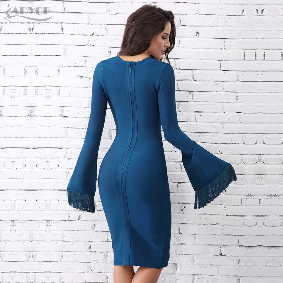 Женское обтягивающее вечернее платье Adyce, синее платье с длинными рукавами с бахромой, в стиле пэчворк, клубная одежда в стиле знаменитостей, весна-лето 2019