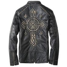 2017 New Men Vintage Black Leather Biker Jacket Stand Collar Genuine Cowskin Short Slim Fit Men Motorcycle Jacket FREE SHIPPING