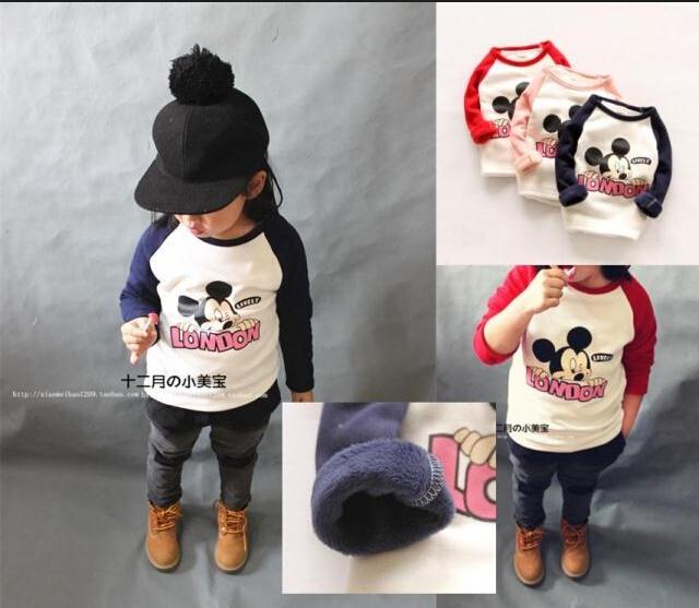 Crianças roupas 2015 outono manga longa mickey padrão meninos hoodeis crianças algodão outwear camisolas para meninos meninas