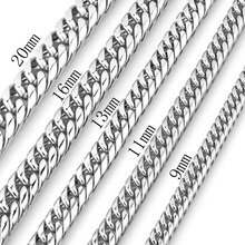 9/11/13/16/20/22mm High Quality 316L Stainless Steel Silver Tone Cuban Curb Link Chain Men's Jewelry Necklace Or Bracelet 7-40 equte bssm5c3 316l stainless steel golden link bracelet 9
