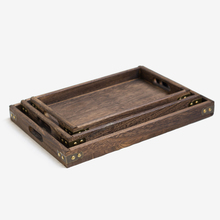 Japan Style Burn Paulownia Wood Serving Tea Tray Metal Edge Rectangular Solid Plates Dinner Snack Plate Hotel Suppliers