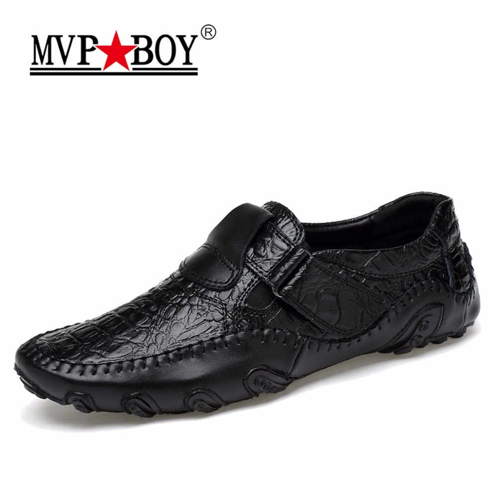 MVP BOY New Design 2018 Spring Summer Men Flat Shoes Soft Split Leather Male Moccasin Driving Loafers Shoes Casual Sapatos Homen