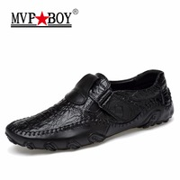 MVP BOY Handmade Genuine Leather Mens Shoes Casual Luxury Brand Men Loafers Fashion Breathable Driving Shoes
