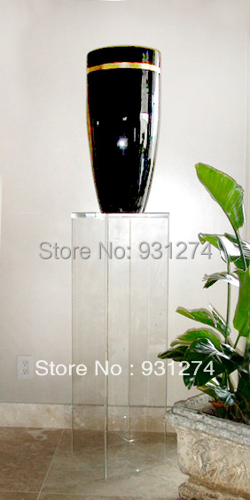 Clear Acrylic Lucite Pedestal Table, Perspex Sculpture/ Flower Vase Stand  Furniture
