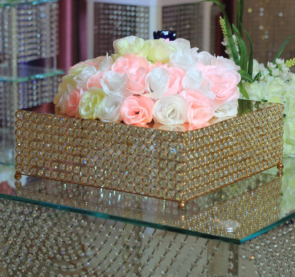 Free Shipping Wholesale 2pcs /lot Square crystal cake stand wedding Birthday decoration 55*55cm Gold Metal available