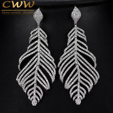 CWWZircons Special Micro Cubic Zirconia Stone Paved Large Long Dangle Drop Feather Earrings Ladies Luxury Designer Jewelry CZ366