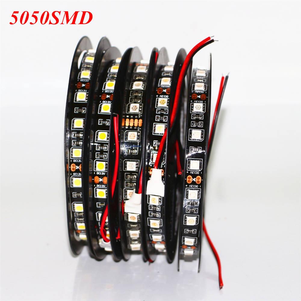 Dc12v Led Strip 5050 Smd Black Pcb Flexible Daytime Running Diy Wiring Lampu Rumah Hitam Fleksibel Berjalan Drl 60 Leds