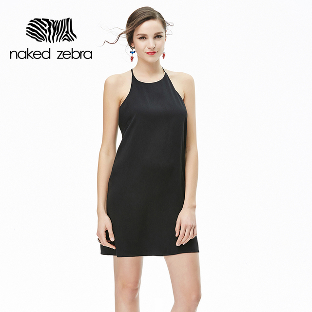 Naked Zebra Sexy Woman Sling Vest Solid Color Round Collar