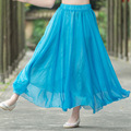 2016 Women Spring Summer Casual Blue Red Mesh Elastic Waist Pleated Long Swing Maxi Skirts Fashion New Sold Color
